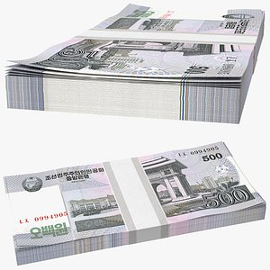 3D North Korea 500 Won Banknotes Pack model