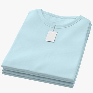 3D Female Crew Neck Folded Stacked With Tag Blue model