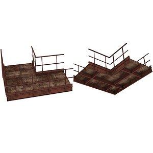 3D model Industrial Platforms  Stairs 01 Set PCorridor 02 01