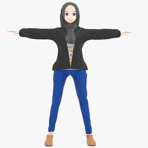 hijab asian 3D model