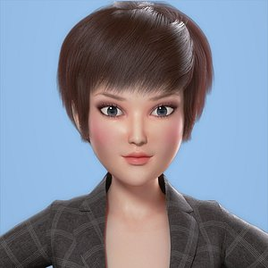 Cartoon Working women Girl model 3D