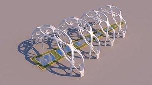 3D model organic fountain pathway