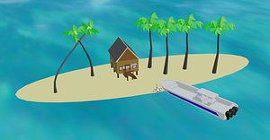 Tarpon boat with island, shack and palm trees model
