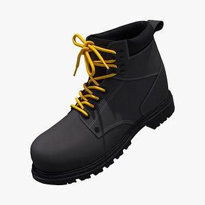3D steel toe work boots model