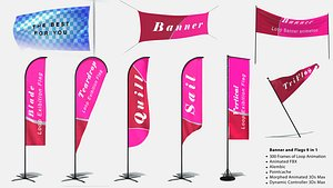flags banner 9 loop animation 3D