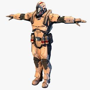 3D guard masked soldier