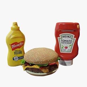 3D model Cheeseburger with Ketchup and Mustard