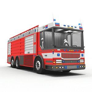 3D Euro Rescue Pump Fire Truck model