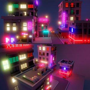 3D Cyberpunk Buildings