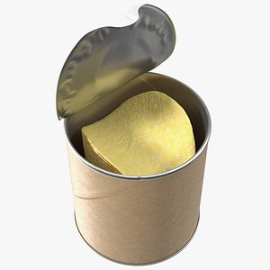 3D Small Opened Paper Tube of Potato Chips