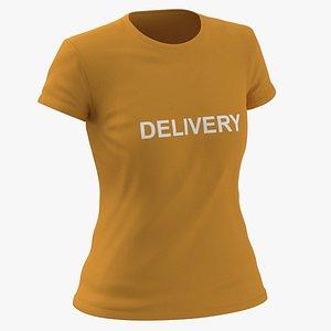3D Female Crew Neck Worn Orange Delivery 01 model