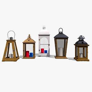 3D model wood lanterns