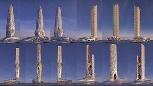 Futuristic building collection 4x 10 3D model