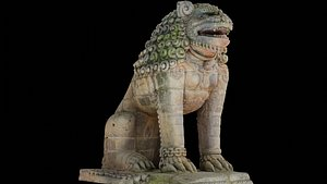 3D Lion guardian with 3 LOD - Nepal Heritage