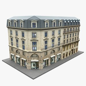 Typical Parisian Corner Building 04 3D model