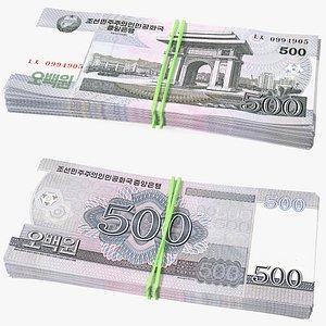 Stack of North Korea 500 Won 3D model