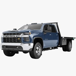 3D Chevrolet Silverado 3500 HD 2021 Flatbed Dump Truck 08 model