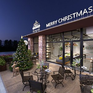 3D model Restaurant with Christmas Decoration
