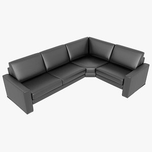 3D modular sofa leather black