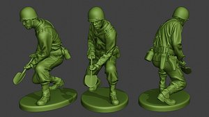 3D soldier ww2 digging american model