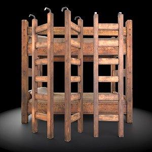 medieval bunk bed 3D model
