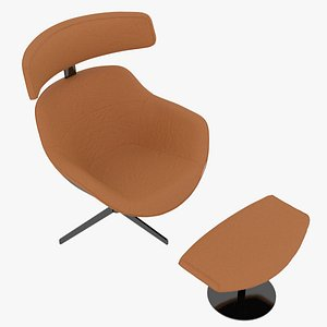 3D Cassina 277-12 Auckland Arm Chair and 277-42 Auckland Ottoman Arancio Fabric Black Body