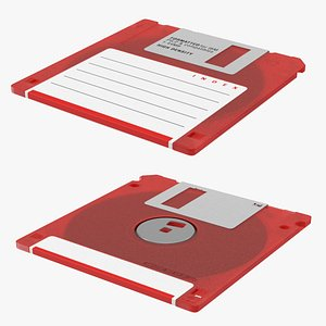 3D Floppy Disk 3 and a Half Inch Red