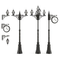 3d model set of old street lamps and clocks