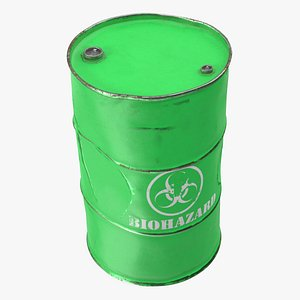 rusty biohazard barrel container 3D model