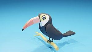 3D bird toucan cartoon