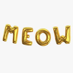 Foil Baloon Words Meow Gold 3D model