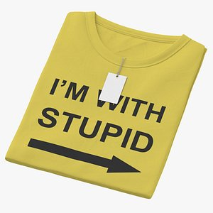 3D Female Crew Neck Folded With Tag Yellow Im With Stupid 01