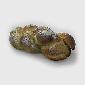 3D Challah Bread 01 model