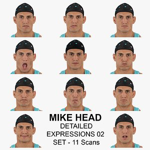 Mike Real Head Detailed Expressions 02 Set 11 RAW Scans Collection 3D model
