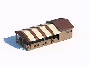 Summerhouse with tent 3d model