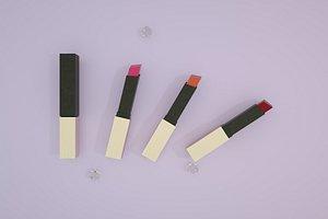 3D model Lipstick small gold bar matte retro C4D product advertising senior black