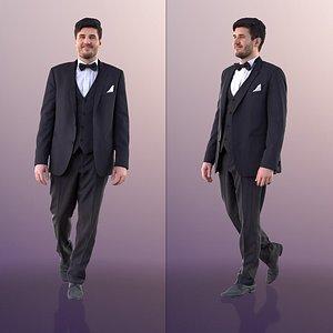 3D model man business walking