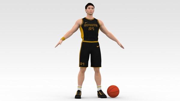 Basketball Player Black Player 05 3D