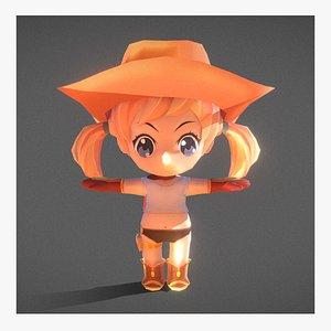chibi girl cowgirl 3D model