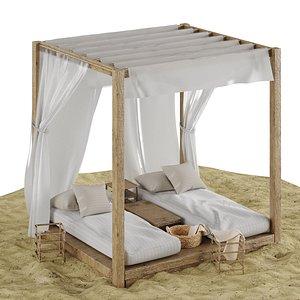 3D beach lounge outdoor set model
