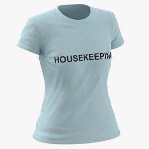 Female Crew Neck Worn Blue Housekeeping 03 3D