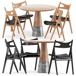 3D CH29P Sawbuck chair and Echo table model