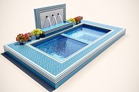Swimming pool with jacuzzi