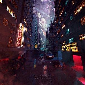 3D C4D octane render Cyberpunk city street  Skyscrapers scene model japan hongkong neon Slum