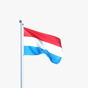 Animated Flag of Luxembourg 3D model