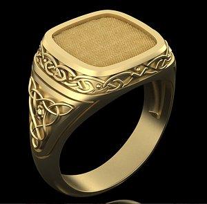 3D model male ring celtic