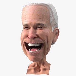 Cartoon Joe Biden Head Rigged for Cinema 4D 3D model