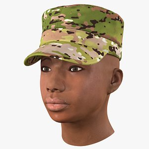 3D african american female soldier