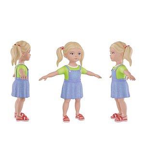3D model child blonde