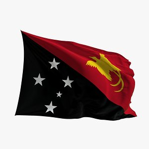 3D Realistic Animated Flag - Microtexture Rigged - Put your own texture - Def Papua New Guinea